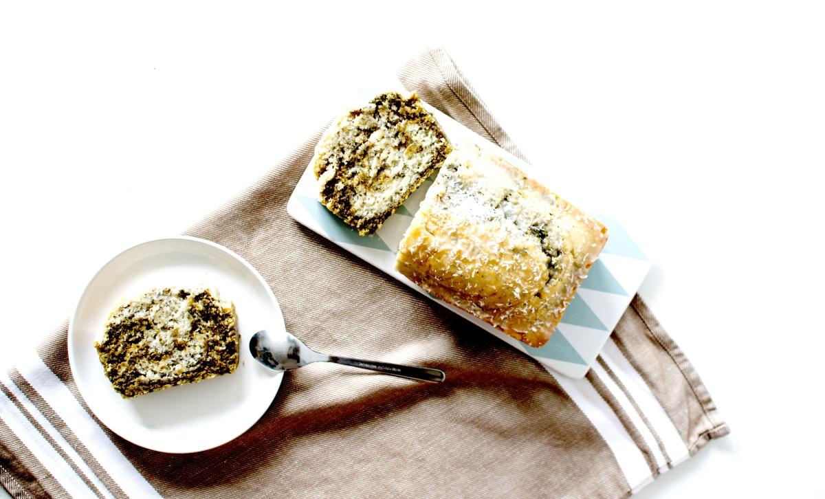 Cake marbré - Chia, Coco & Matcha