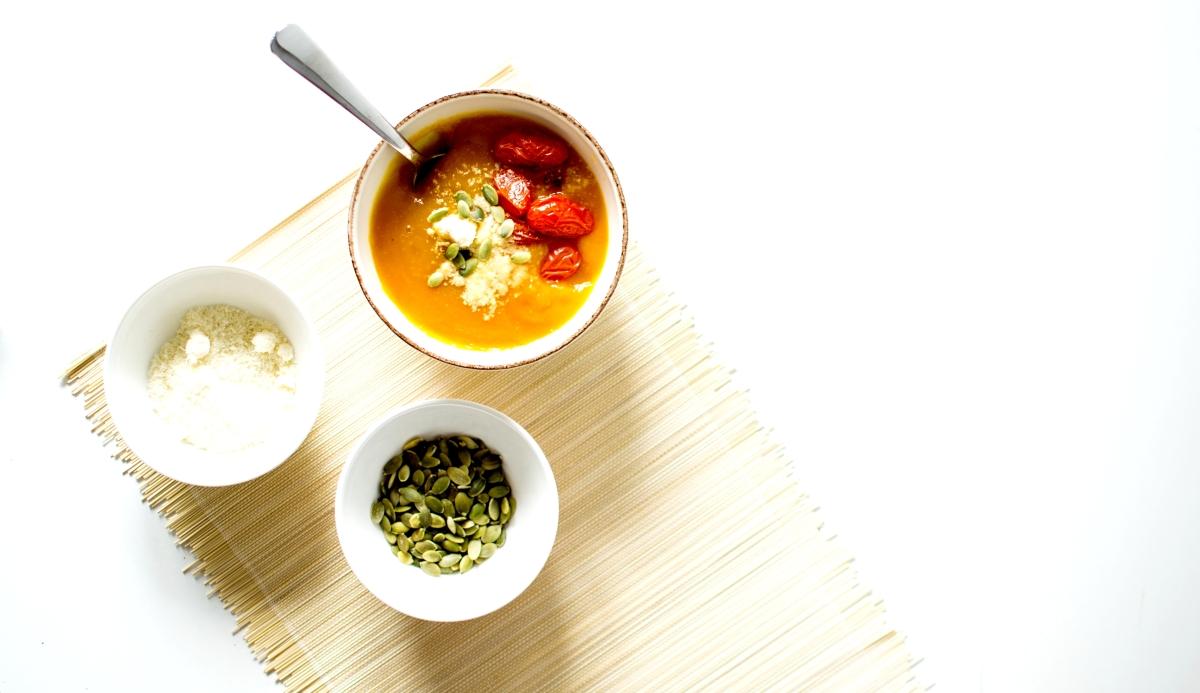 Velouté - Butternut, Tomates rôties & Parmesan
