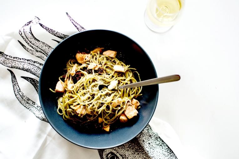 spaghetti au saumon feta et tomates séchées 3