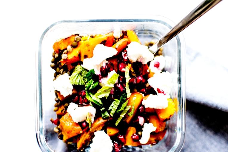 salade tiède lentilles courge grenade chèvre 1