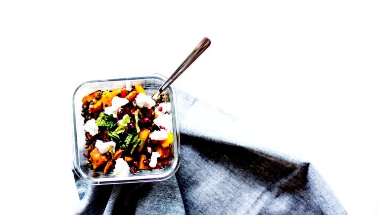 salade tiède lentilles courge grenade chèvre 5