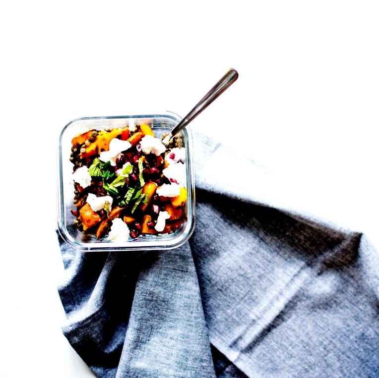 salade tiède lentilles courge grenade chèvre 6