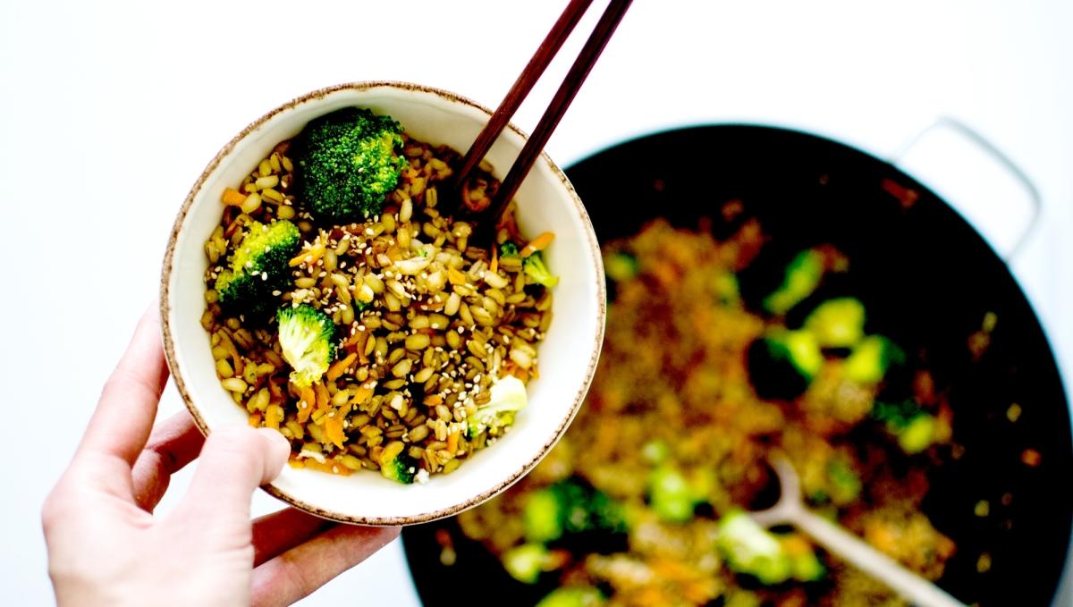 Wok de blé aux légumes