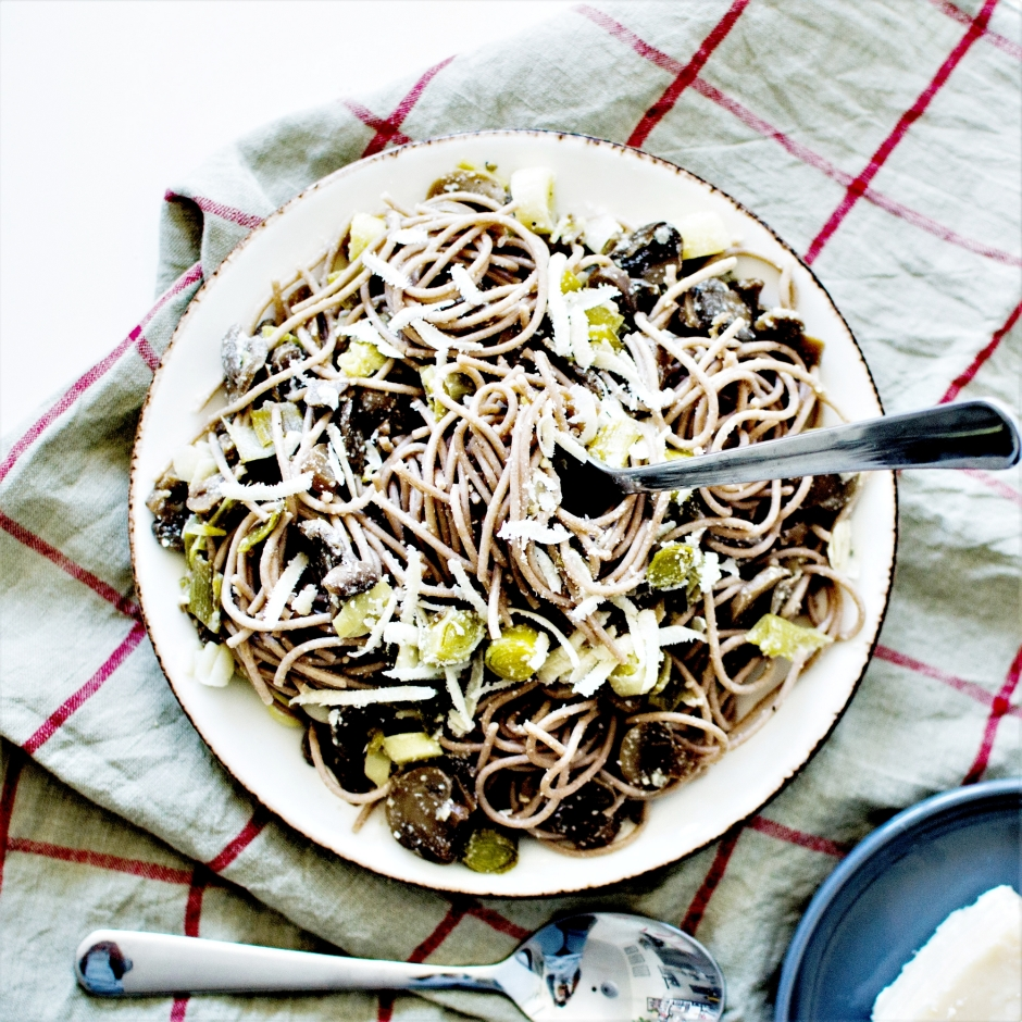Spaghetti poireaux champignons pâtes (1)