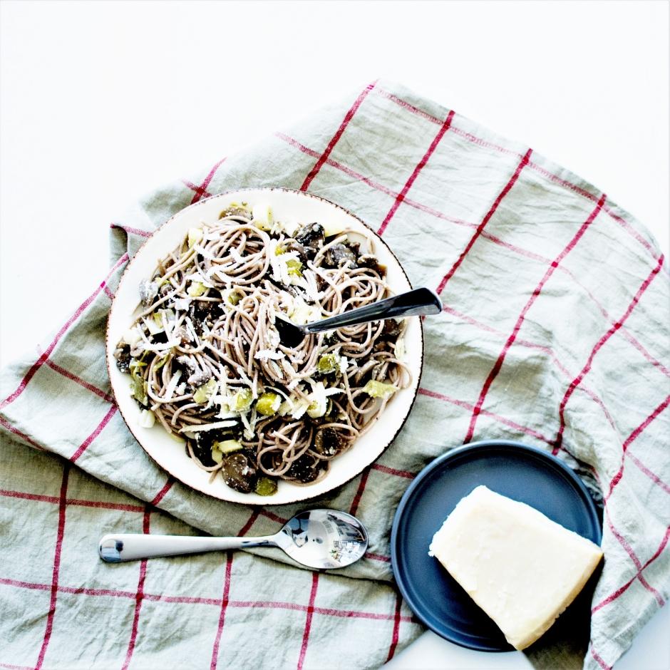 Spaghetti poireaux champignons pâtes (4)