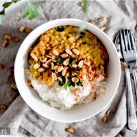 Dahl de lentilles corail, patates douces et cacahuètes - Version 2